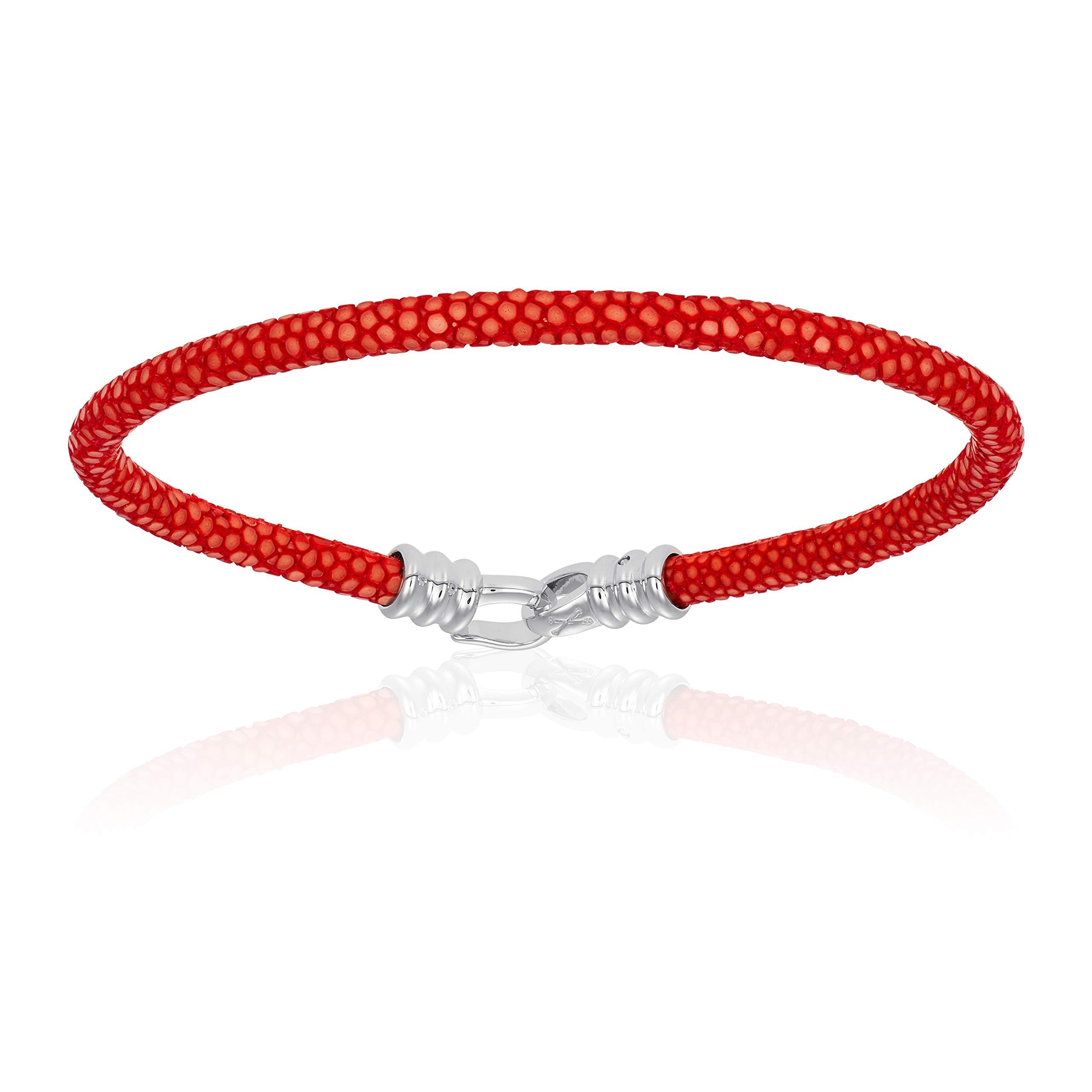 Double Bone Single Stingray Leather Bracelet (Red, 20)