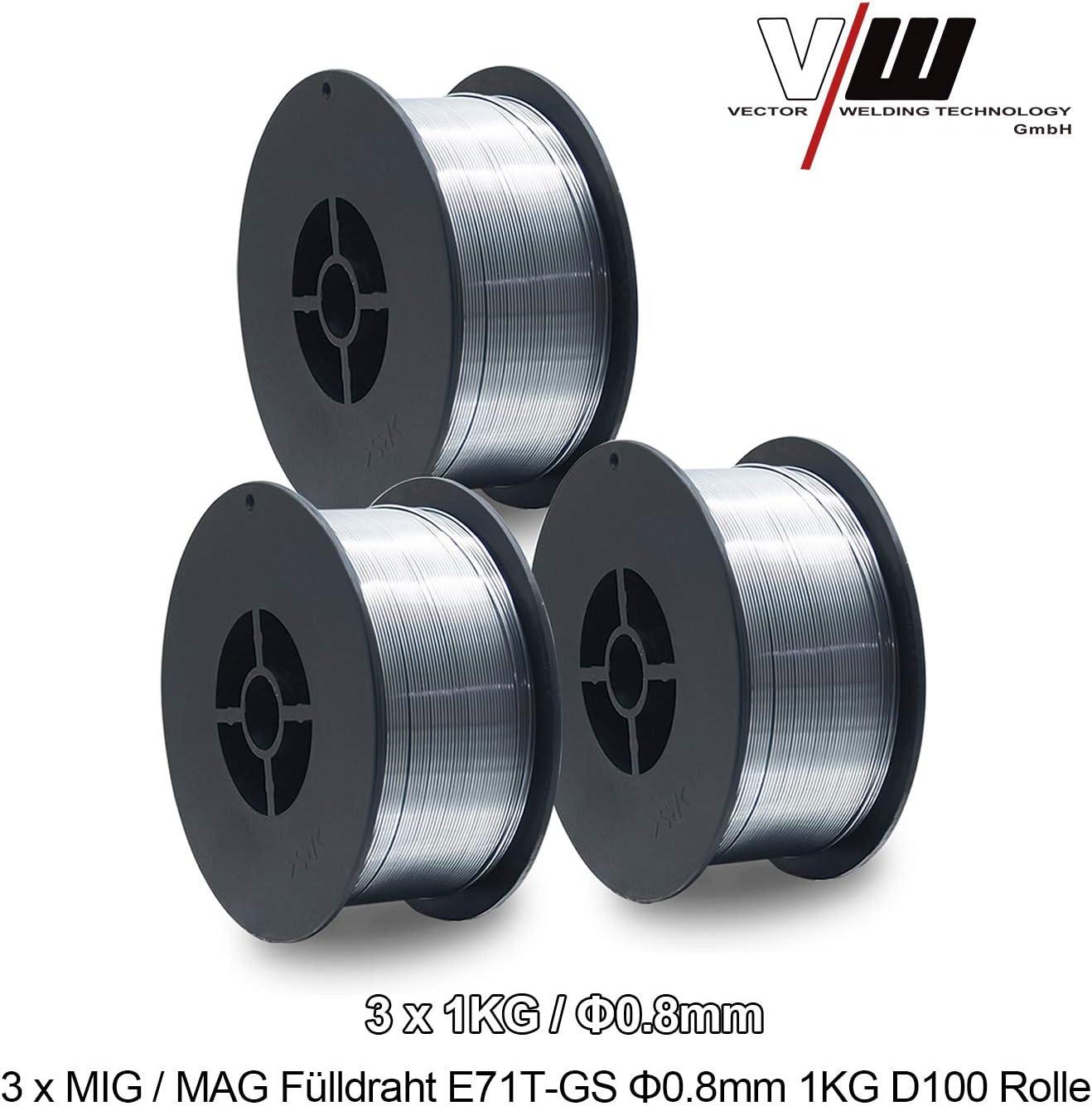 Fil fourr/é pour soudage MIG MAG /Ø 0,8 mm 1 kg D100 de Vector Welding E71T-GS NoGas