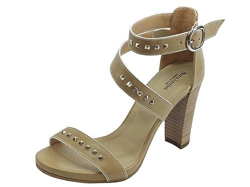 Sandali per donna NeroGiardini in pelle colore sabbia tacco alto