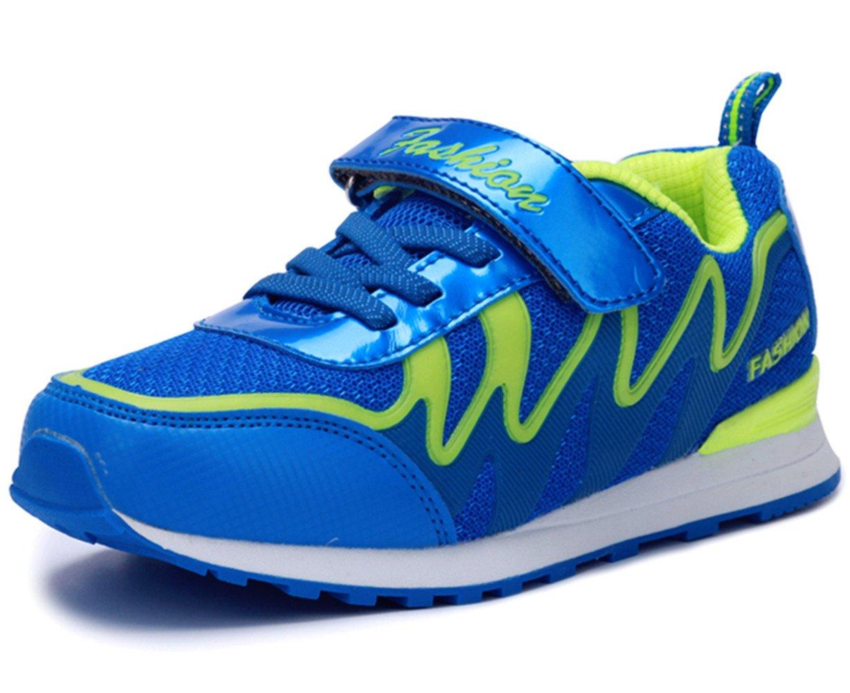 DADAWEN Boys & Girls Lightweight Sneakers Breathable Athletic Running Shoes(Toddler/Little Kid/Big Kid) Blue US Size 5 M Big Kid