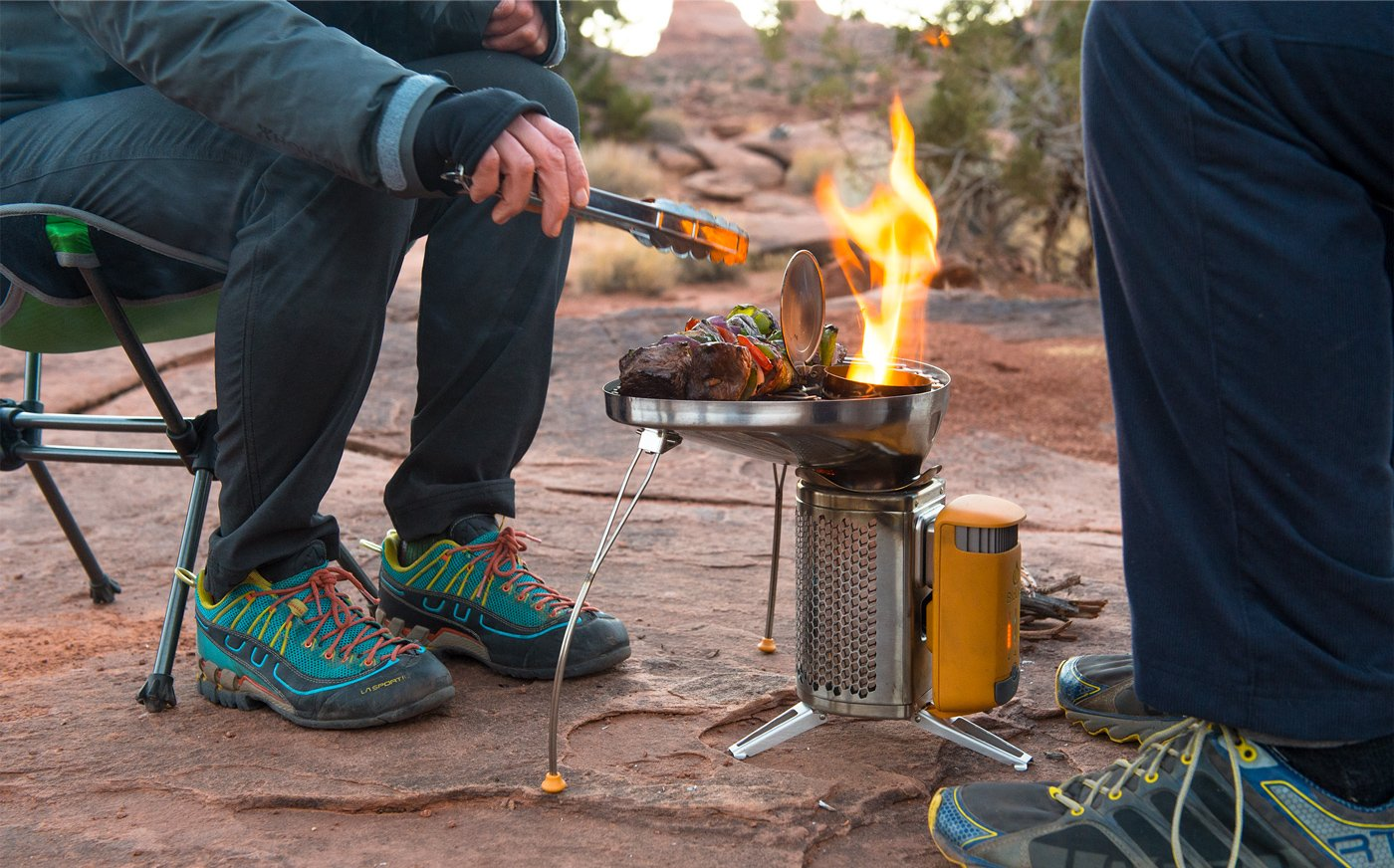 BioLite CampStove 2- Wood-Burning Small Lightweight Stove, USB FlexLight, Fire Starter, Generates 3W of Electricity for USB Charging Using Excess Heat, 5 x 5 x 8.3 Inches, Silver/Yellow (CSC1001) by BioLite (Image #6)
