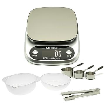 Mazline - Báscula digital de cocina, gran paquete de tazas de medición, cuencos y