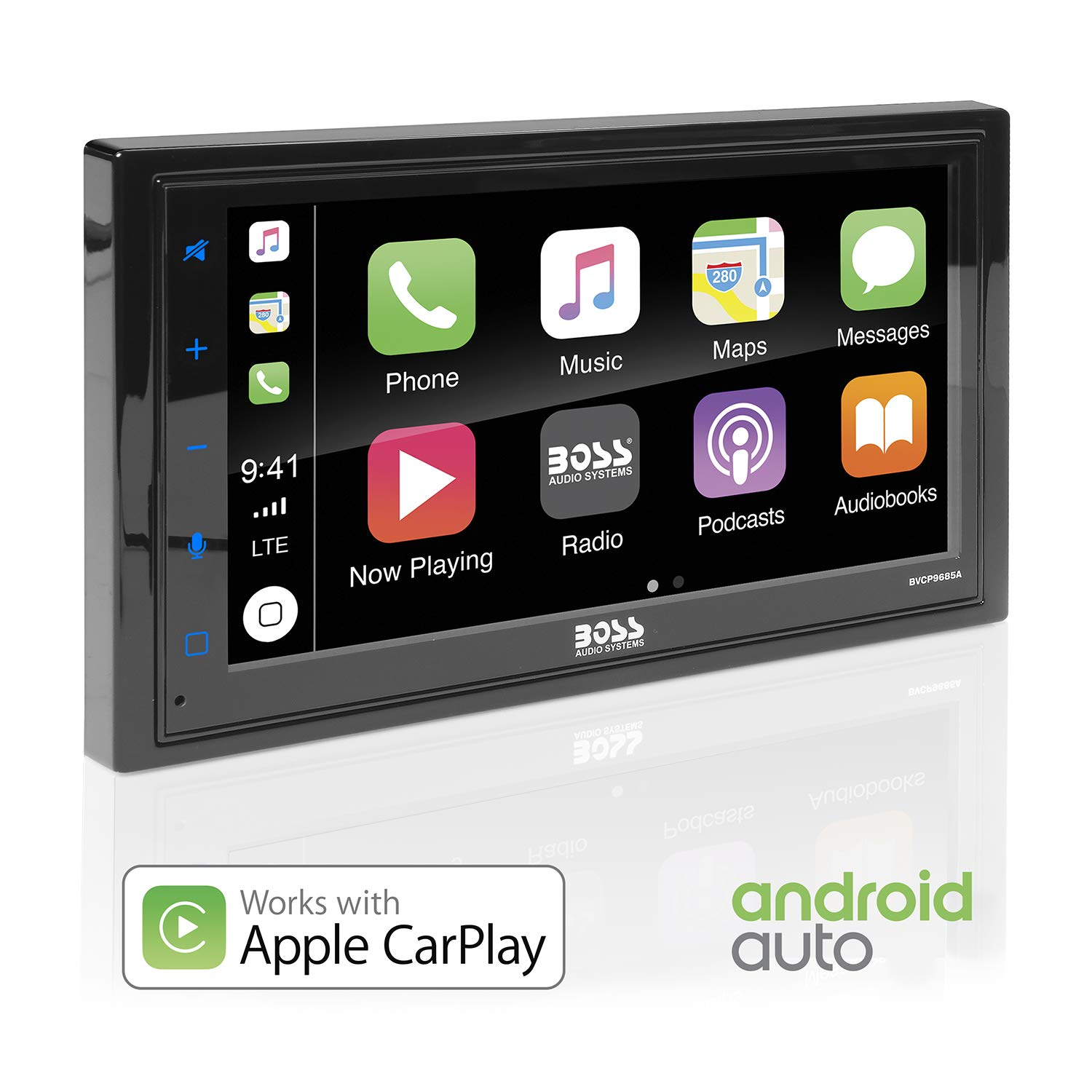 BOSS Audio BVCP9685A Apple Carplay Android Auto Car Multimedia Player - Double Din Car Stereo, 6.75 Inch LCD Touchscreen Monitor, Bluetooth, MP3 Player, USB Port, A/V Input, Am/FM Car Radio by BOSS Audio Systems
