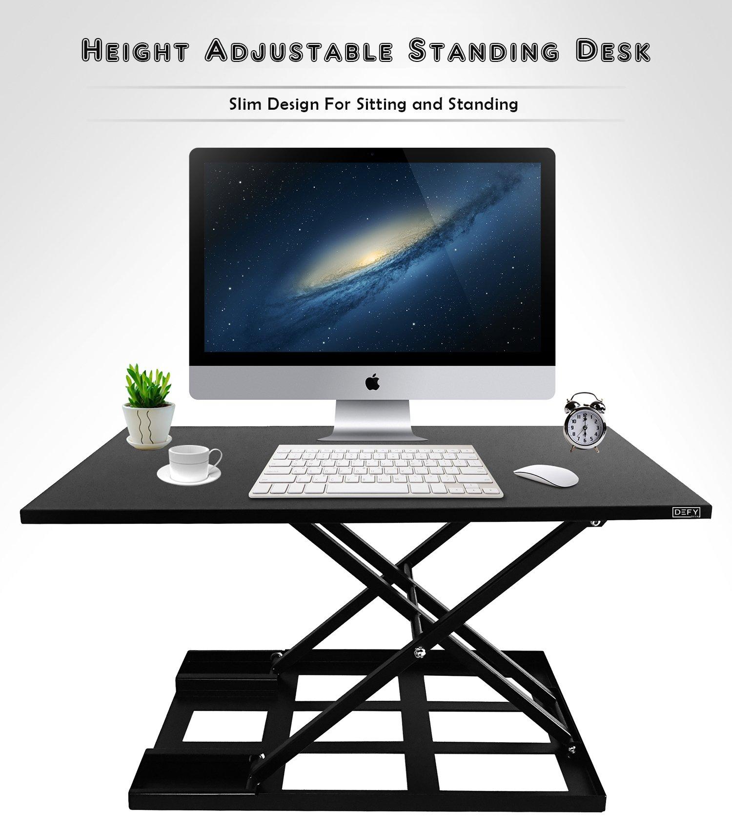 Standing Desk Stand Up Desks Height Adjustable Sit Stand Converter Laptop Stands Large Wide Rising Black Dual Monitor PC Desktop Computer Riser Table Workstation Foldable Extender Ergonomic 32 inch by Defy Desk (Image #2)
