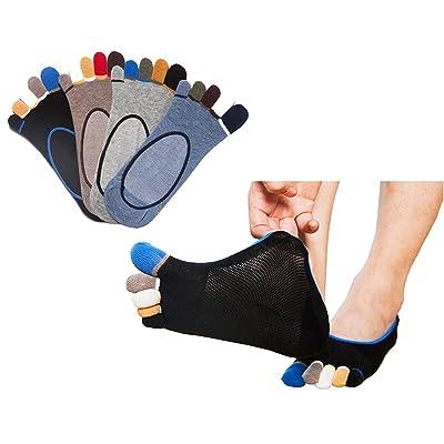 Men's No Show Toe Socks Cotton Lightweight Low Cut Invisible Five Finger Socks Non-Slip 4 Pack