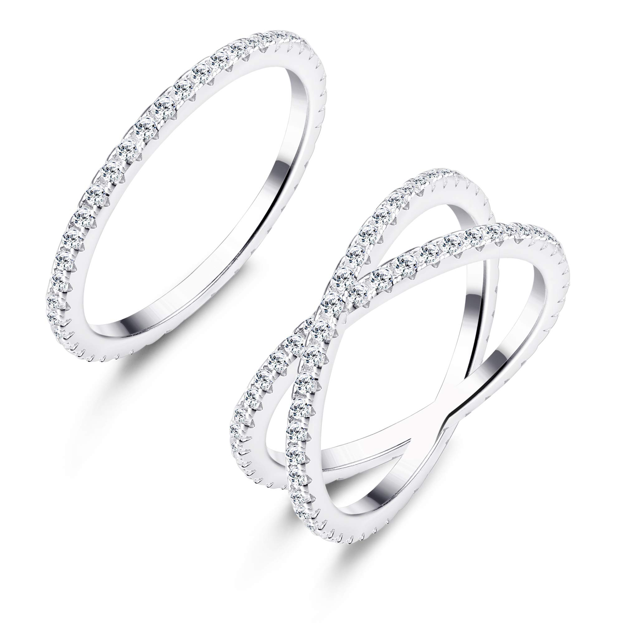 Udalyn 2 Pcs Silver Stacking Rings Women Girls X Criss Cross Ring Eternity Bands Engagement Rings 6