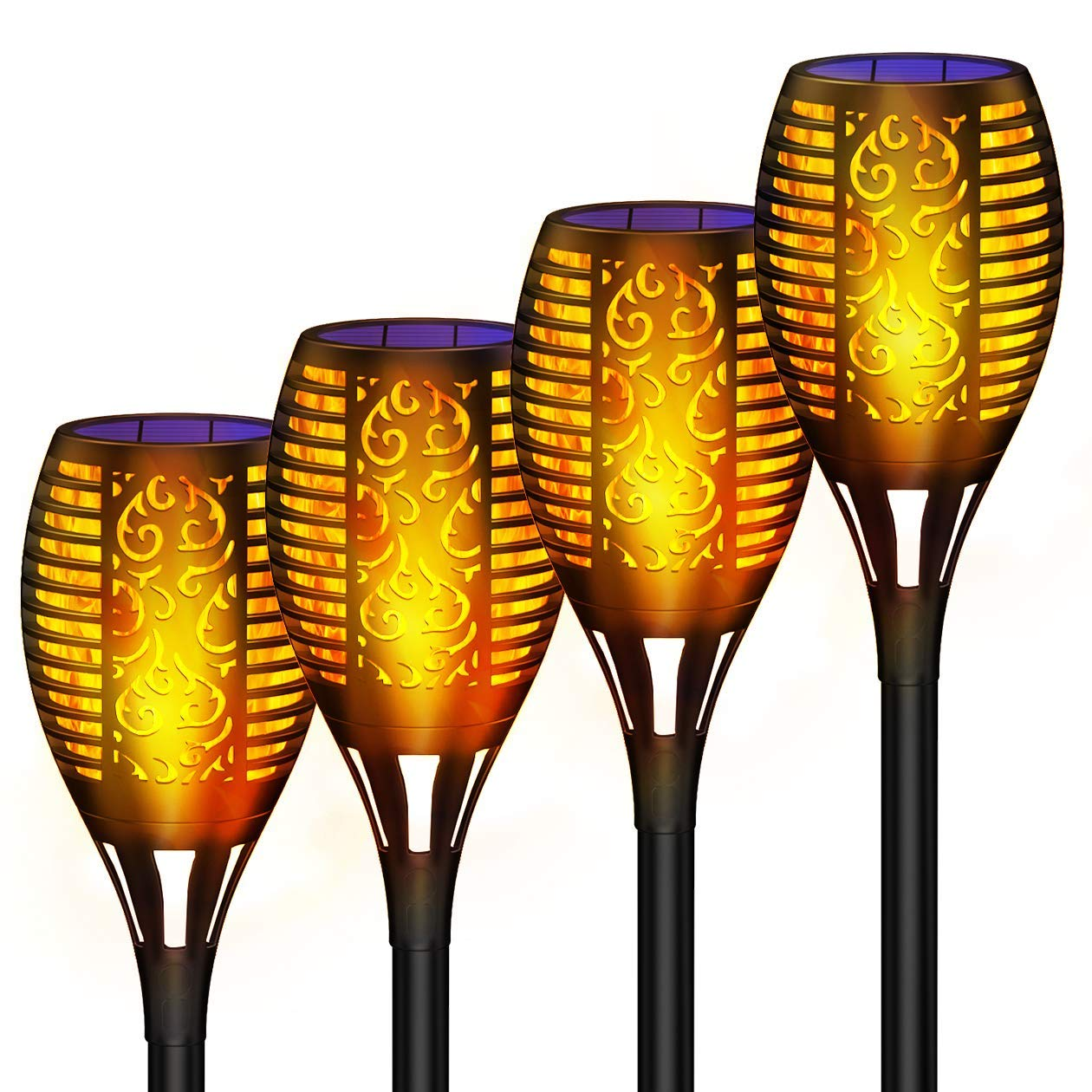 Wiw Solar Torch Light, Outdoor Waterproof Flickering Flames Solar Torches Dancing Flames Landscape USB Charging Decoration Lighting Lamp for Garden Patio Deck Yard Driveway Pathway (4 Pack)