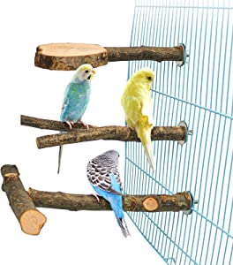 Roundler 3 Pack Apple Wood Bird Perch for Cage, Natural Wooden Parrot Perch Stand Platform Exercise Climbing Paw Grinding Toy Playground Accessories for Parakeet, Conure, Cockatiel, Budgie, Lovebirds