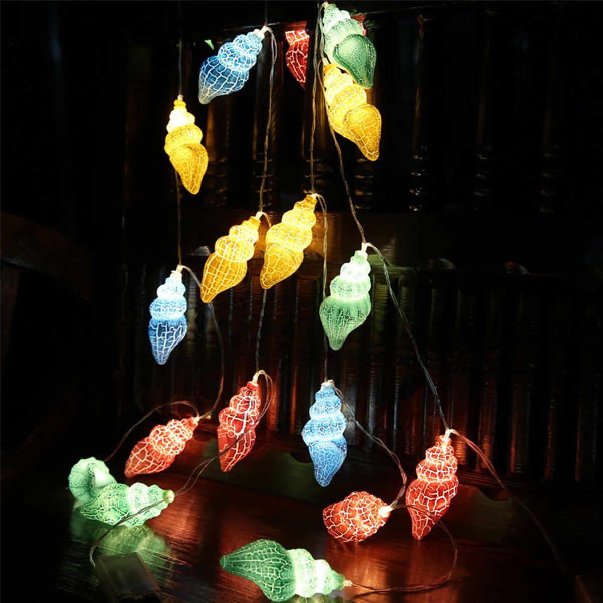 Queenland 5 ft 10 LED fantasticグローバル文字列ライト電池式フェアリーライトパーティークリスマスツリーハンギングオーナメントウェディングガーデンアウトドアインドア装飾 1.5 meters レッド B07DK55CJT 14819  Conch