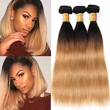 Black Rose T1b 27 Straight Human Hair Weaves Black To Honey Blonde Ombre Hair 3 Bundles 8a 100 Peruvian Virgin Hair Extensions Silky Straight Dark