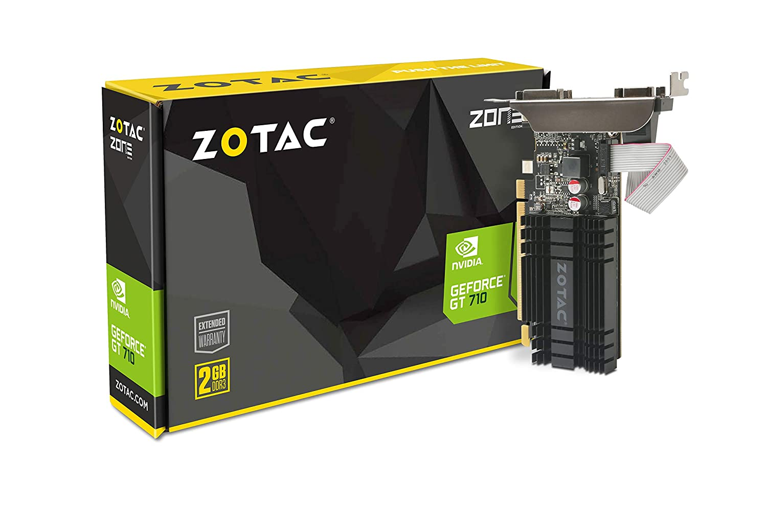 ZOTAC GeForce GT 710 2GB DDR3 PCI-E2.0 DL-DVI VGA HDMI Passive Cooled Single Slot Low Profile Graphics Card (ZT-71302-20L)