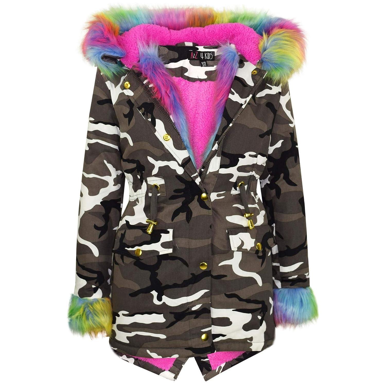 Jacket JK21 Camo Fur Rainbow 13 A2Z 4 Kids/® Girls Detachbale Faux Fur Hooded School Coats