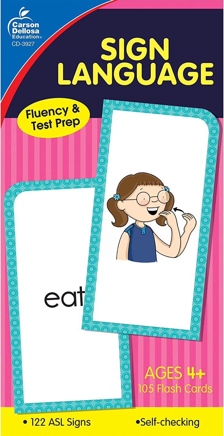 Carson Dellosa | American Sign Language Flash Cards | All Ages, 105ct