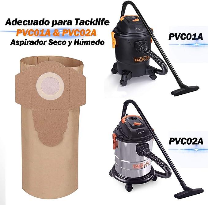 TACKLIFE Bolsas para Aspiradoras, Adecuado para PVC01A y PVC02A, 5 ...