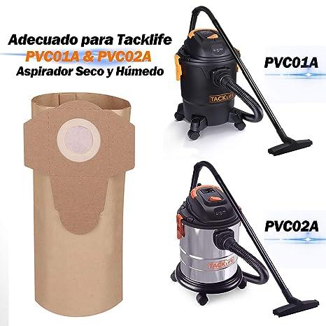 TACKLIFE Bolsas para Aspiradoras, Adecuado para PVC01A y PVC02A, 5 Unidades, Mayor Durabilidad-PVC00Z