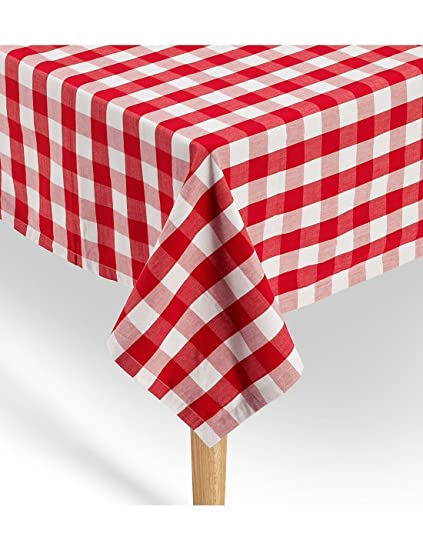 Gingham Tablecloth 100% Cotton | Premium Quality | Red / White Checkered  Square Tablecloth 52u0026quot