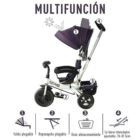 HOMCOM Triciclo para Niños con Capota Desmontable y Plegable para ...