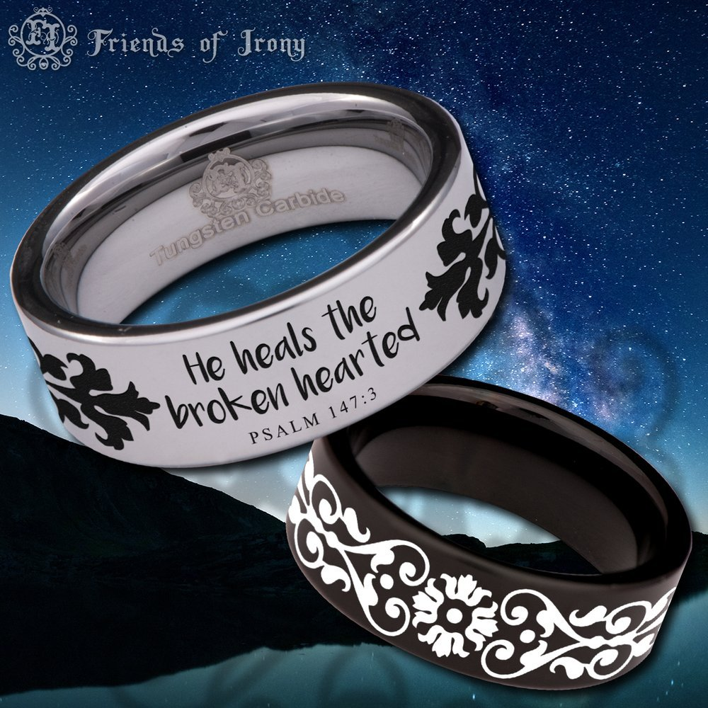 Friends of Irony Silver Tungsten Carbide Psalm 147:3 Ring 8mm Wedding Band and Wedding Ring for Men and Women Size 6.5