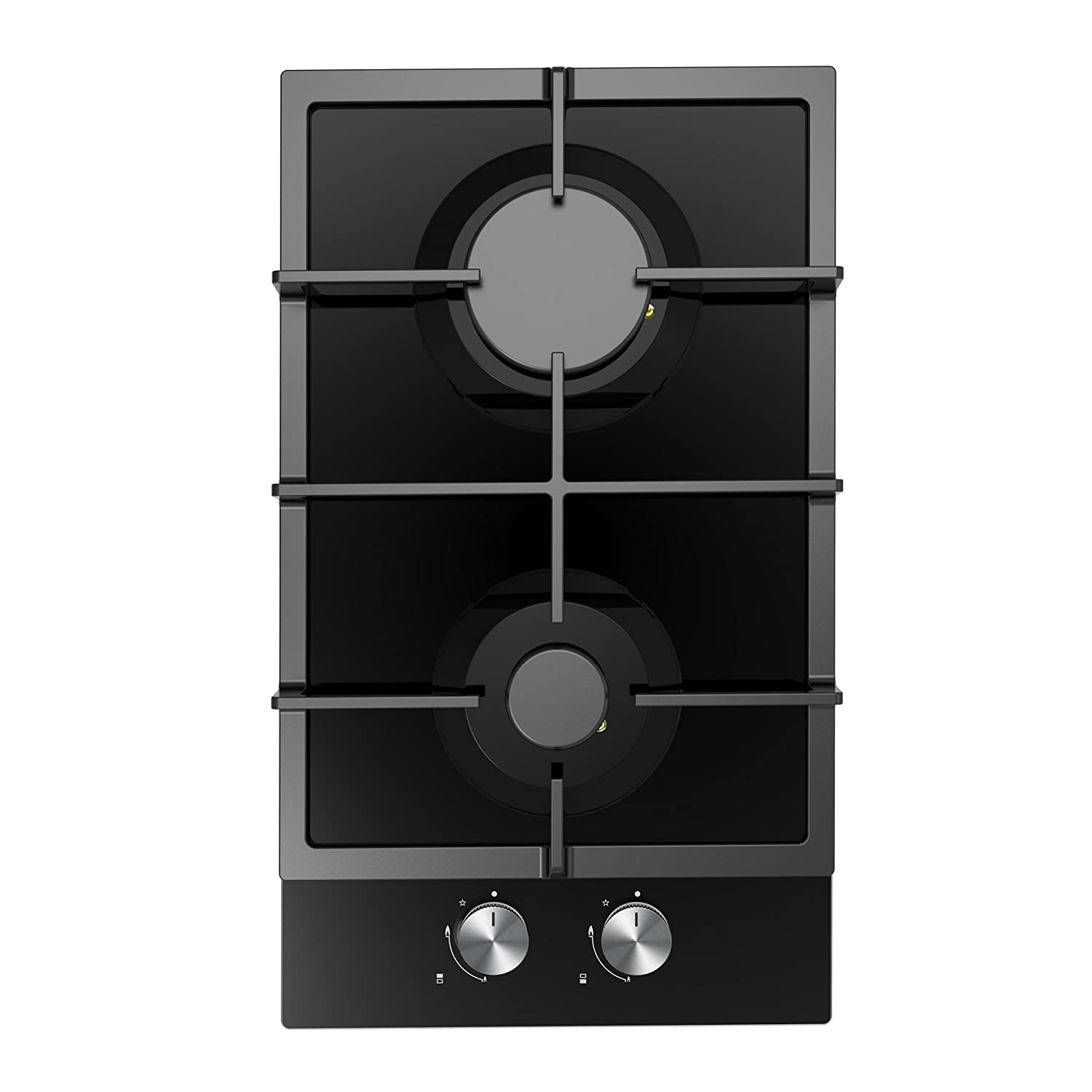 Cookology Gas-on-Glass Domino Hob GGH305BK | 30cm, Built-in, Cast-Iron & Auto Ignition