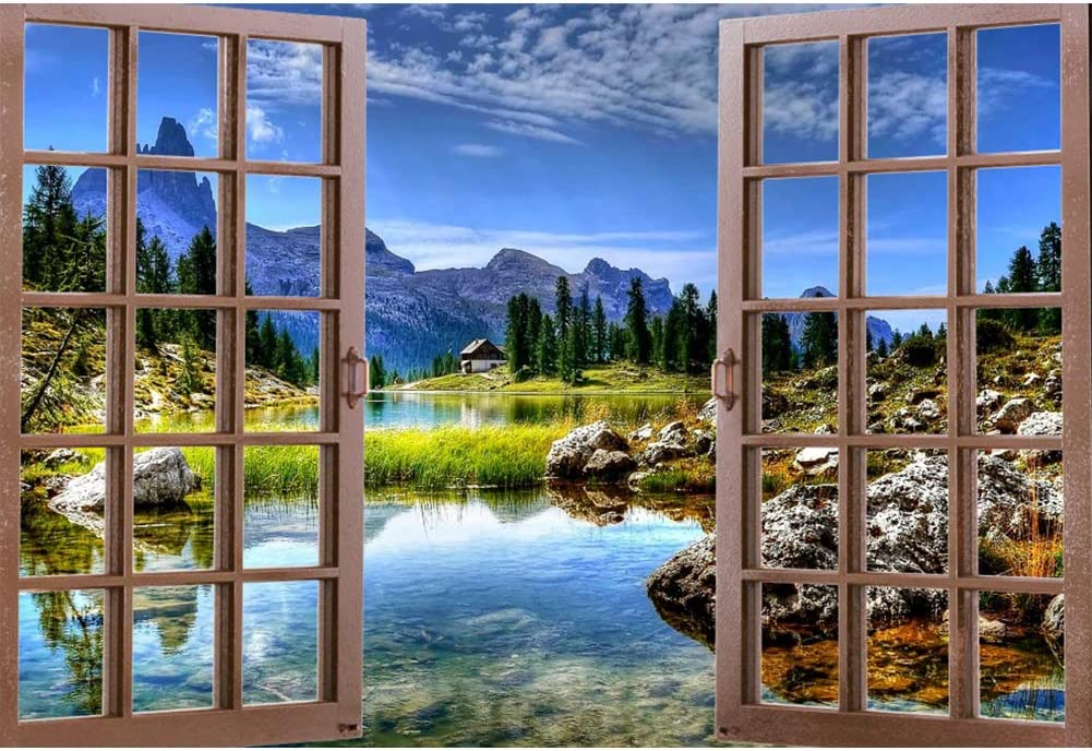 CSFOTO 7x5ft Spring Scenery Backdrop Outdoor Natural Landscape Photography Background Window Mountain Sky Lake House Interior Decoration Holiday Vacation Photo Studio Props Wallpaper