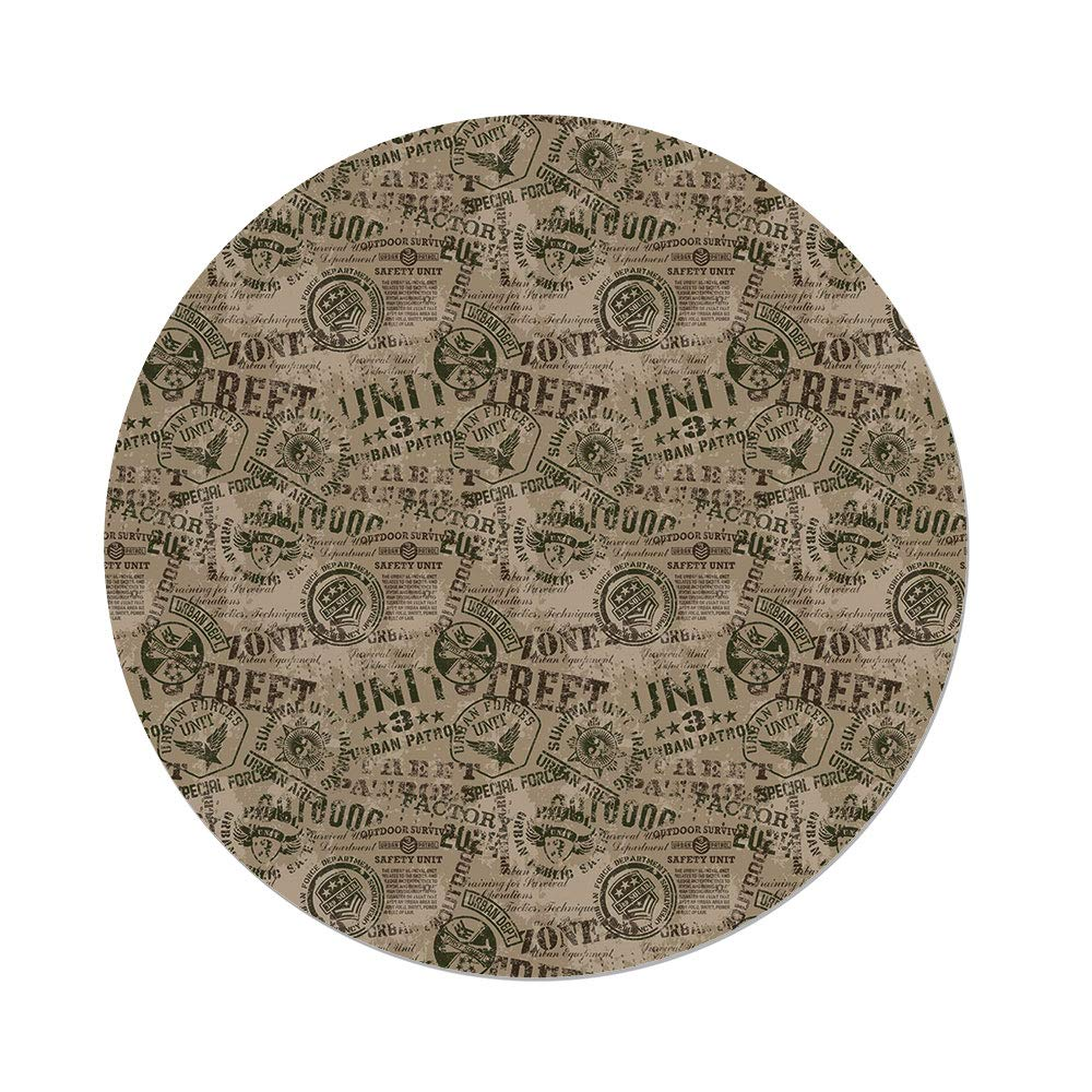 Polyester Round Tablecloth,Grunge,Nostalgic Military Pins from Different Countries Uniform Army Style Graphic Decorative,Tan Army Green,Dining Room Kitchen Picnic Table Cloth Cover,for Outdoor Indoor