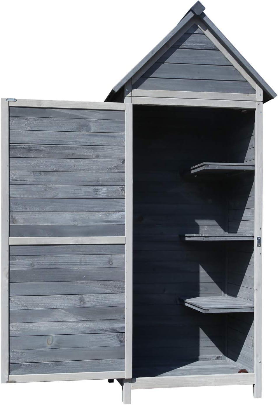 Armario para jardín de madera de color gris claro 77x53x179cm, con tejado a dos aguas y puerta
