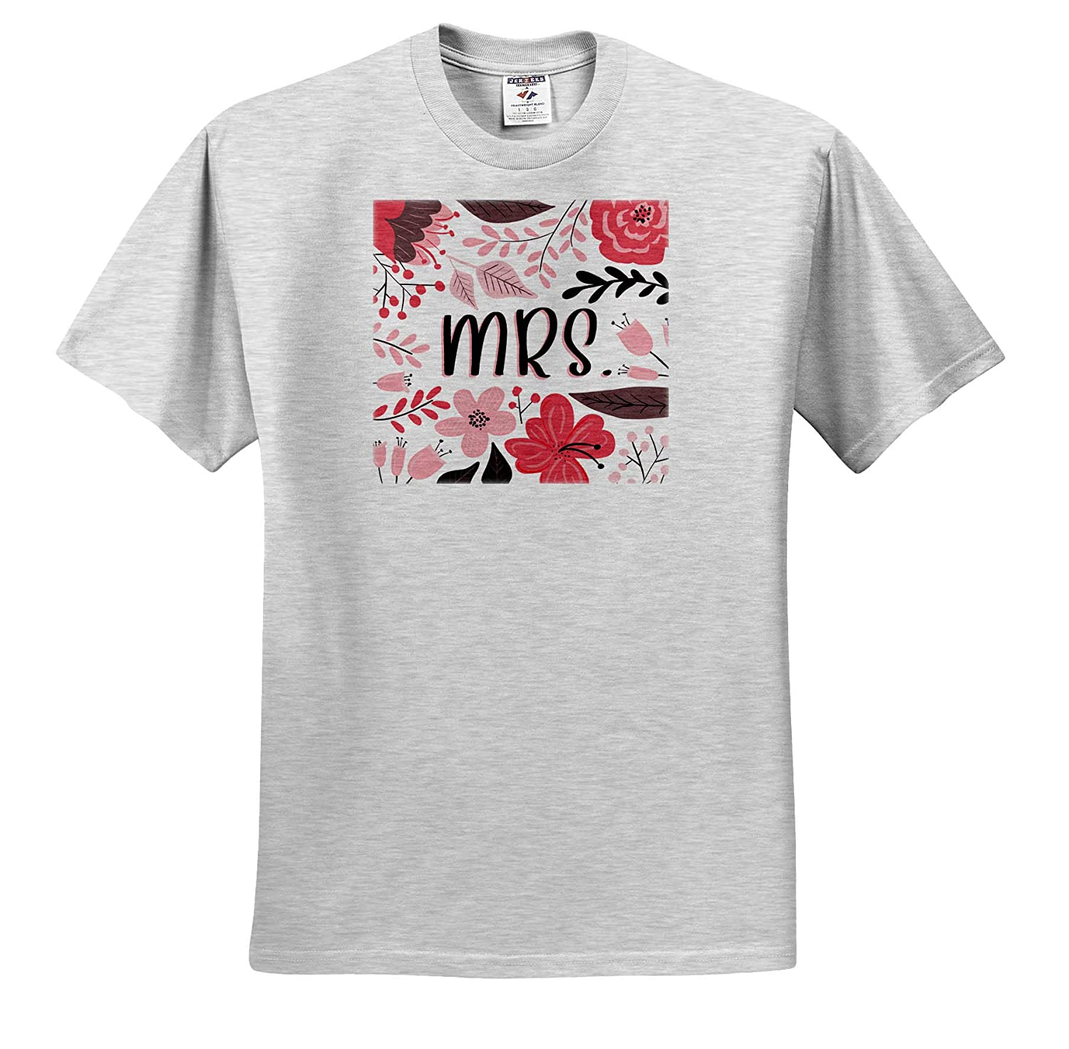 ts/_319842 Adult T-Shirt XL - Pretty Pink Floral Mrs 3dRose Janna Salak Designs Floral Phrases