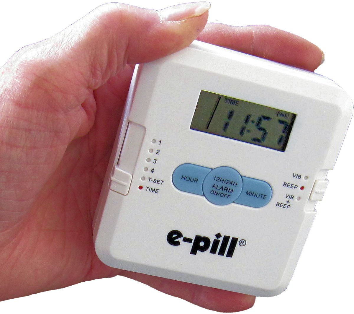 Amazon.com: e-pill | Pocket Pillbox | 4 Dose Per Day Pill Dispenser with  Vibrating and Audible Reminder Alarm | 4 Doses Per Day x 1 Day | Pocket Pill  ...