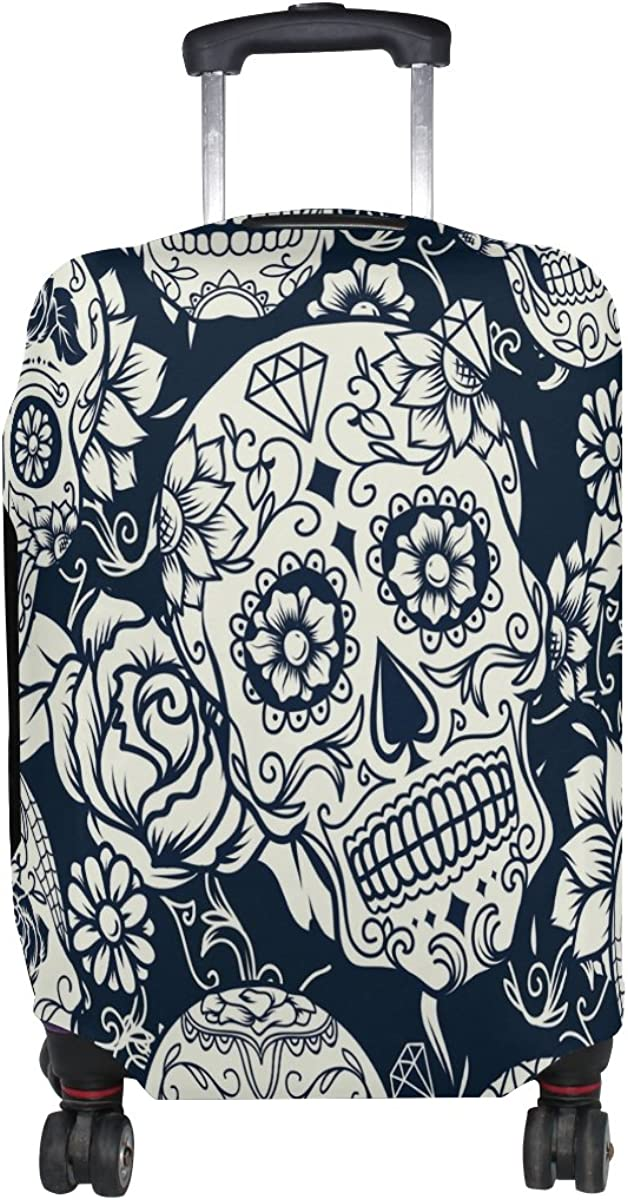 ALAZA Daisy Floral Sugar Skull Travel Luggage Cover Suitcase Cover Case