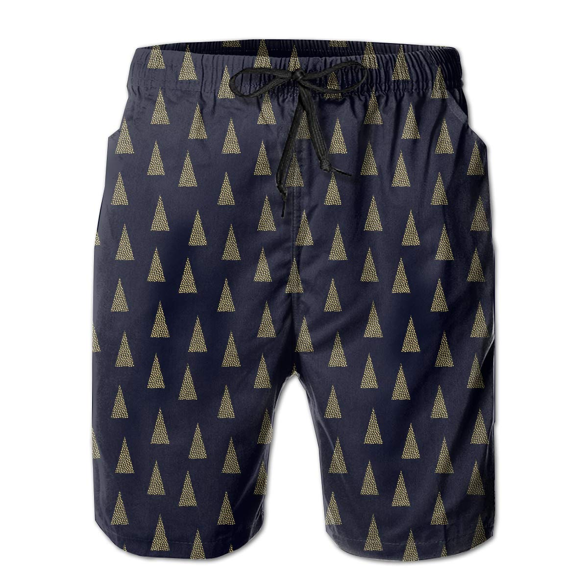 Christmas with Spruce Trees Dots Mens Beach Shorts Lightweight Running Trunks with 3 Pockets