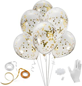 Gold Confetti Balloons, Haley Party 12 Inches 24 Pieces with Ribbon and Balloon Clips for Party Birthday Wedding Proposal Decorations