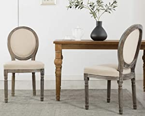 CIMOTA French Dining Chairs Set of 2, Upholstered Retro Farmhouse Chair with Round Back Distressed Wood, Mid Century Fabric Side Chairs for Dining Room Bedroom Restaurant, Beige