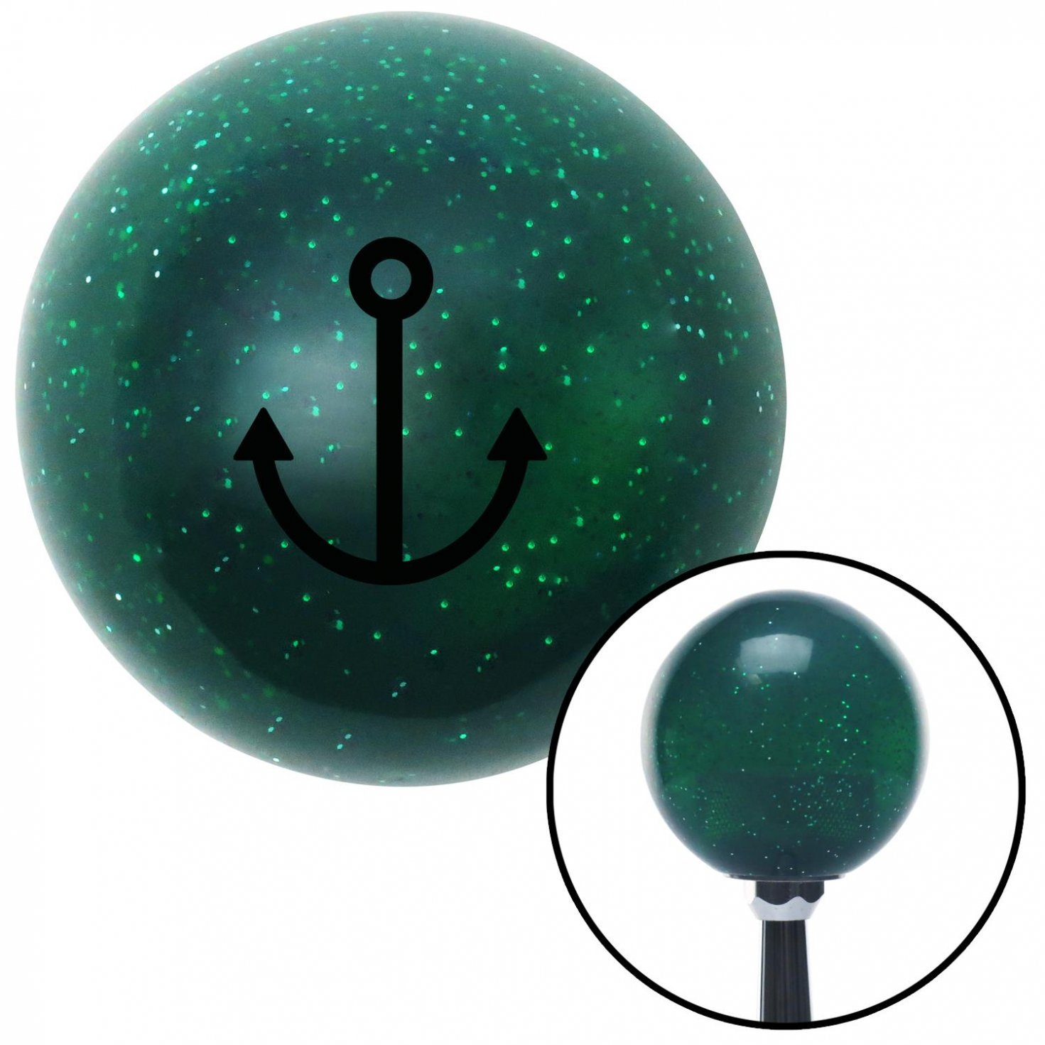 Black Anchor Design American Shifter 61185 Green Metal Flake Shift Knob with 16mm x 1.5 Insert