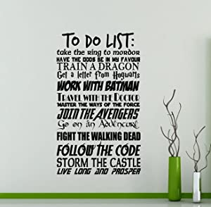 to Do List Wall Decal Harry Potter Geek Decor Avengers Walking Dead Star Wars Geekery Sign Motivational Word Cloud Vinyl Sticker Quote Gift Decor Room Art Stencil Decor Mural Removable Poster 57me