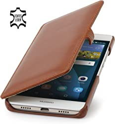 StilGut Book Type avec Clip, Housse Huawei P8 Lite en Cuir, Cognac