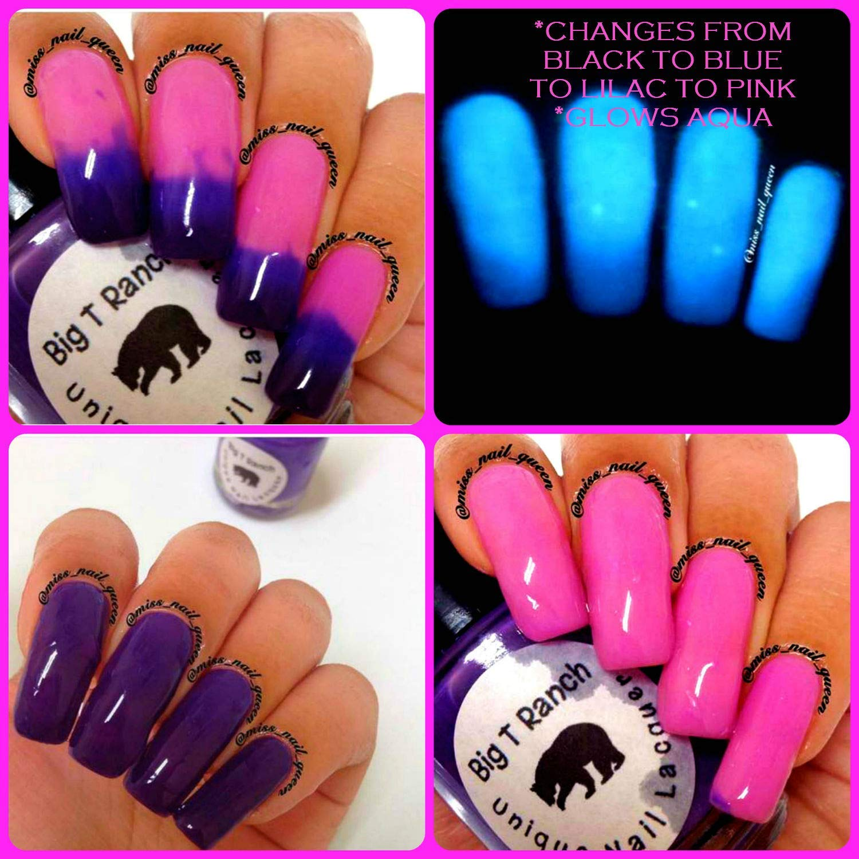 Color Changing Thermal Nail Polish - Ombre Pink/Lilac/Blue/Black - Glows  Aqua -