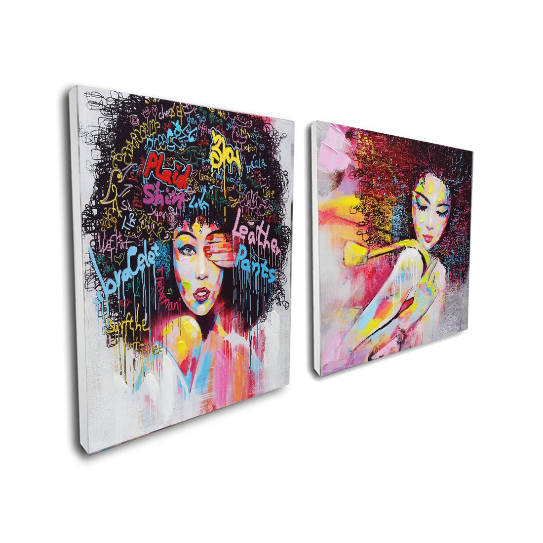 Pinetree Art African American Black Art Canvas Wall Art, Original Designed Pop Graffiti Style Canvas Painting on Print (40 x 40 inch, C Framed & D Framed)