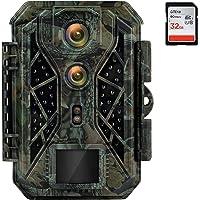 Cámara de Caza de Doble Lente 4K 32MP Camara Fototrampeo con Visión Nocturna 25m Camara Caza Led Invisible con Velocidad…