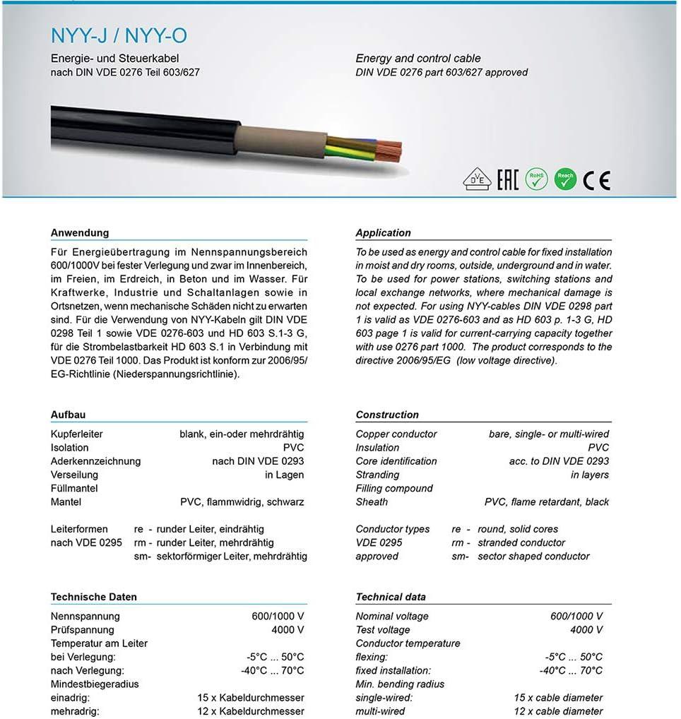 C/âble dalimentation terrestre NYY-J 3 x 2,5 mm2 pour installation en ext/érieur 5 m
