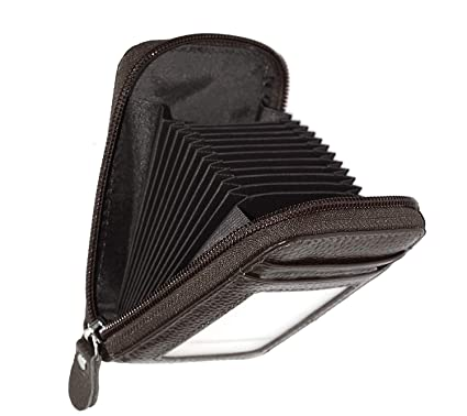 huge discount 56493 1ed76 Storite RFID Blocking 10 Slot Vertical Leather Credit/Debit Zipper Card  Holder Wallet (Brown)