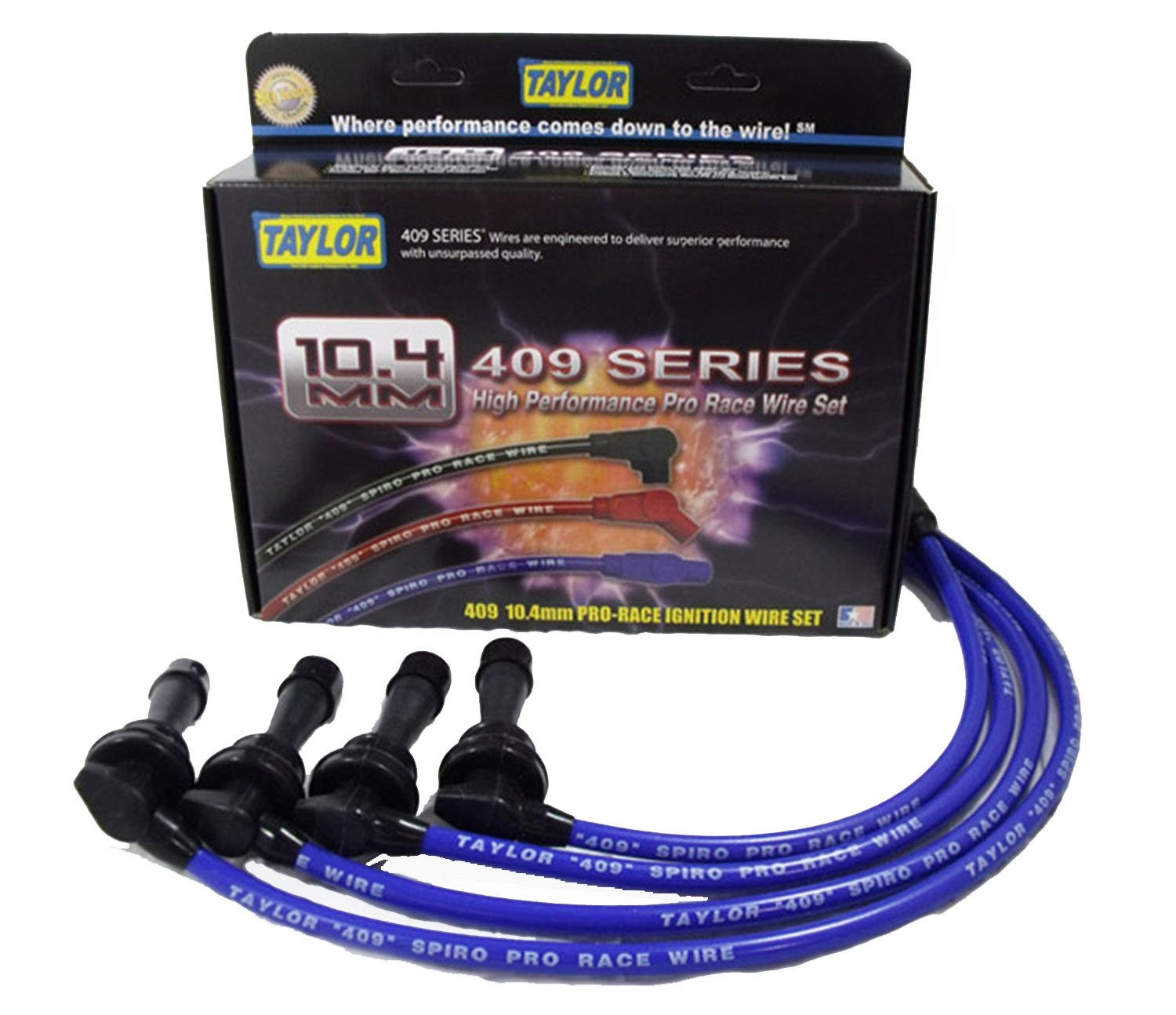 Taylor Cable 79669 409 Pro-Race Spiro-Wound Core Spark Plug Wire Set