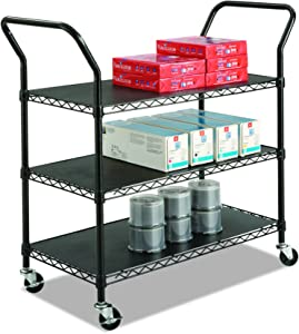 Safco Products 5338BL Wire Utility Cart with 3 Shelves, Rated up to 600 lbs., Black