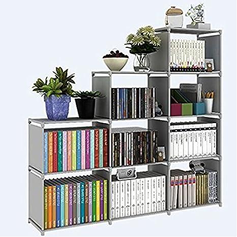 30 Inch Adjustable Bookcase Storage Bookshelf With 9 Book Shelves Cube Organizer
