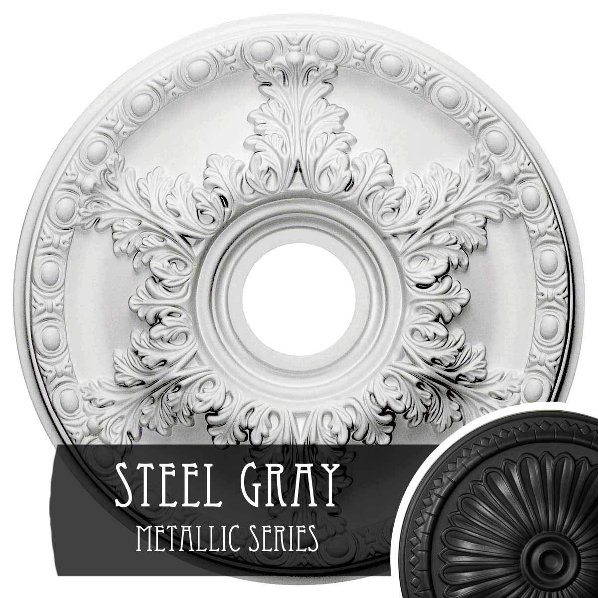 Ekena Millwork CM18GASGS Granada Ceiling Medallion, Steel Gray