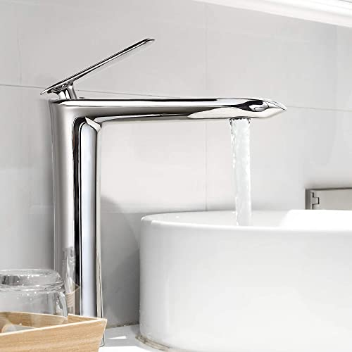 Yohom Tall Bathroom Vessel Sink Faucet Chrome Single Handle Bowl Sink Faucet Basin Sink Mixer Tap One Hole Solid Brass