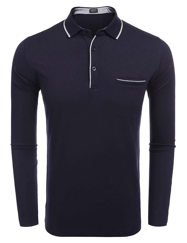 COOFANDY Men's Long Sleeve Polo Shirt Classic Business Slim Fit Cotton T Shirts