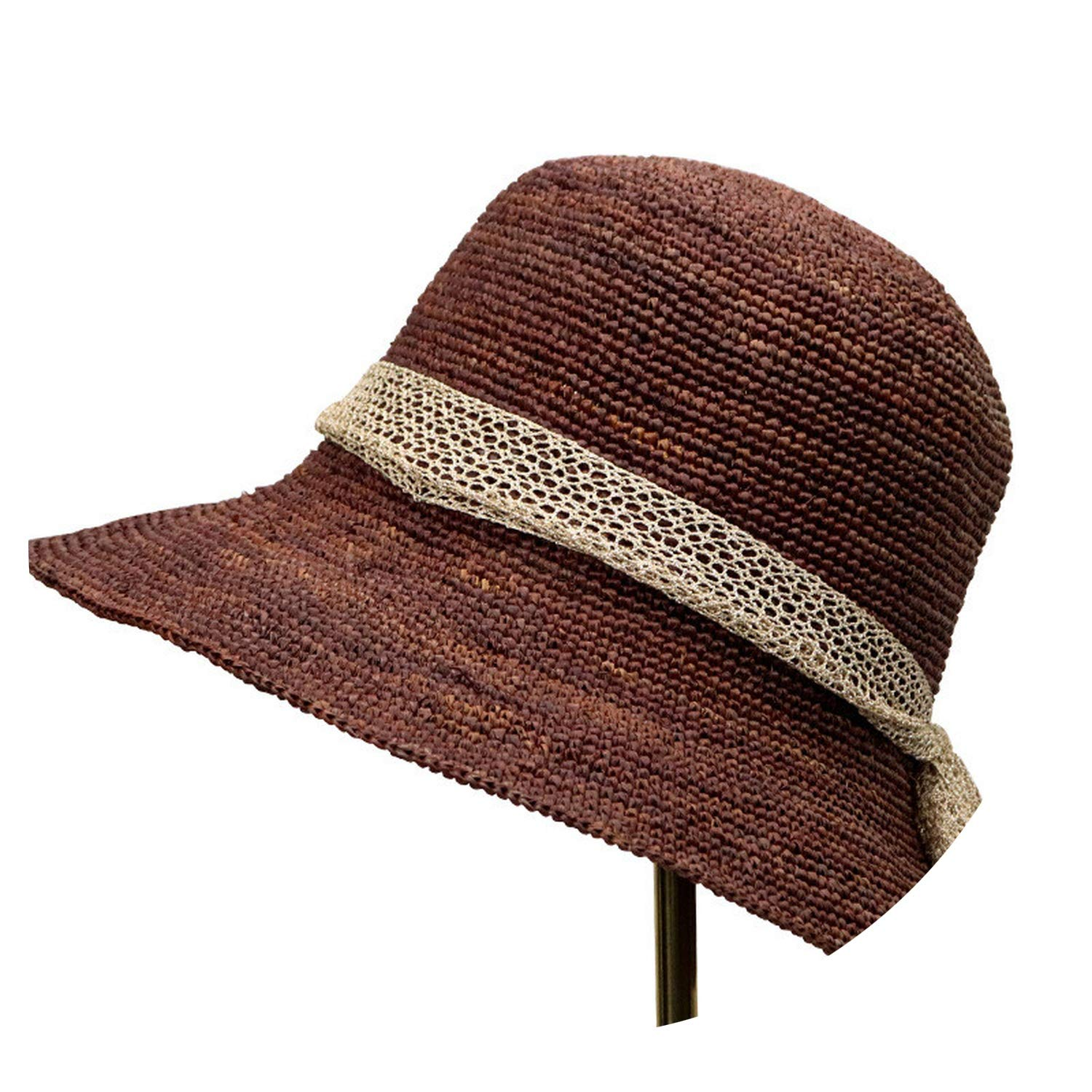 2019 Hua Hua high-end Boutique Hand Hook lafite Grass Bowknot Thin Woven Straw hat New Costume,1,M by mybeautifulstore 1