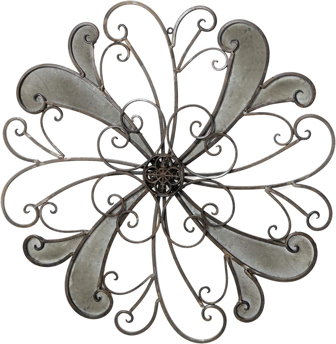 Adeco Rustic Urban Flower Scrolled Design, Metal Wall Hanging Decor For Nature Home Art Decoration & Kitchen Holiday Wall Decorations, Christmas Wall Art Gifts - 25x25 Inches