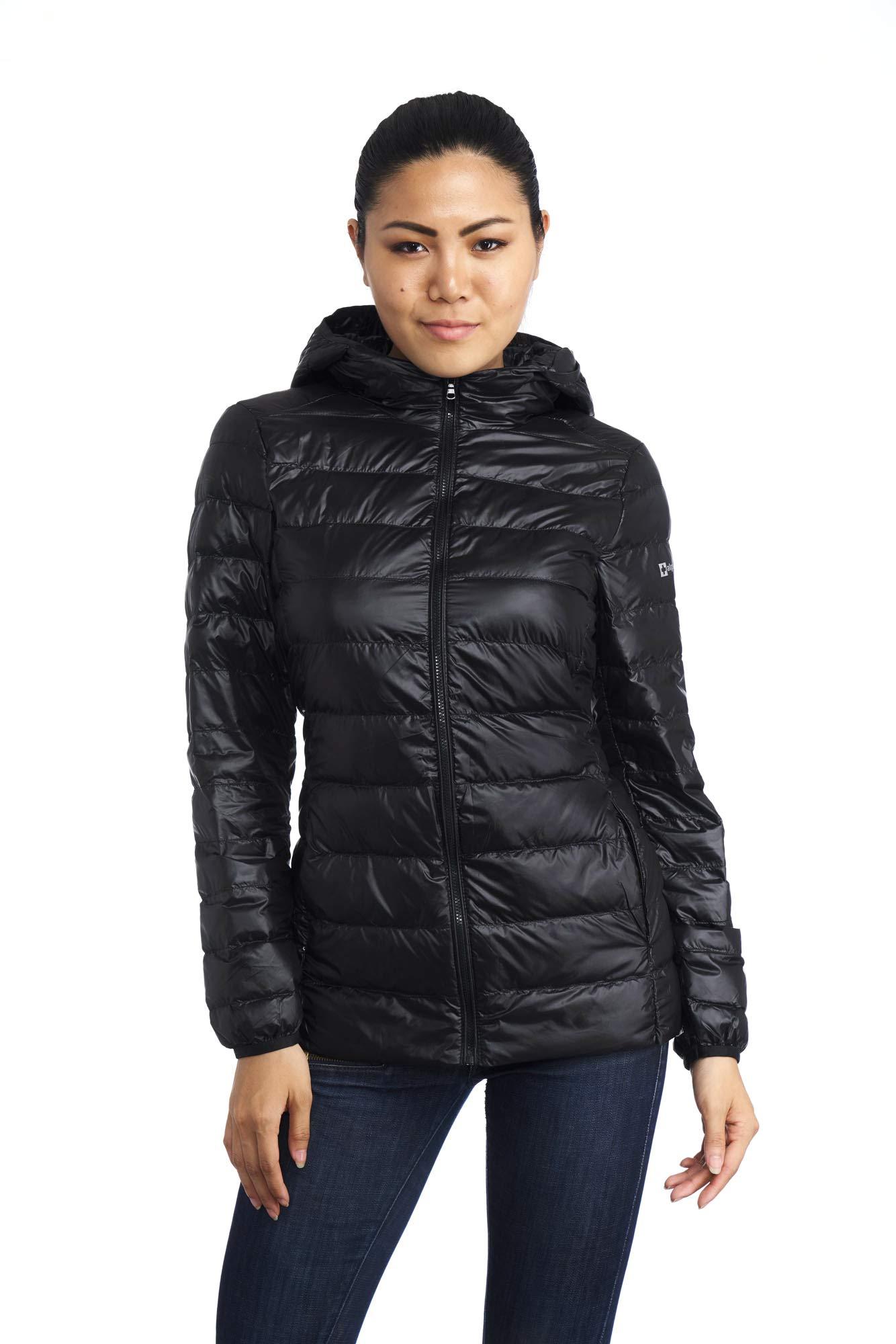 alpine swiss Eva Womens Down Jacket Hooded Puffer Coat Packable Insulation & Light BLK MED