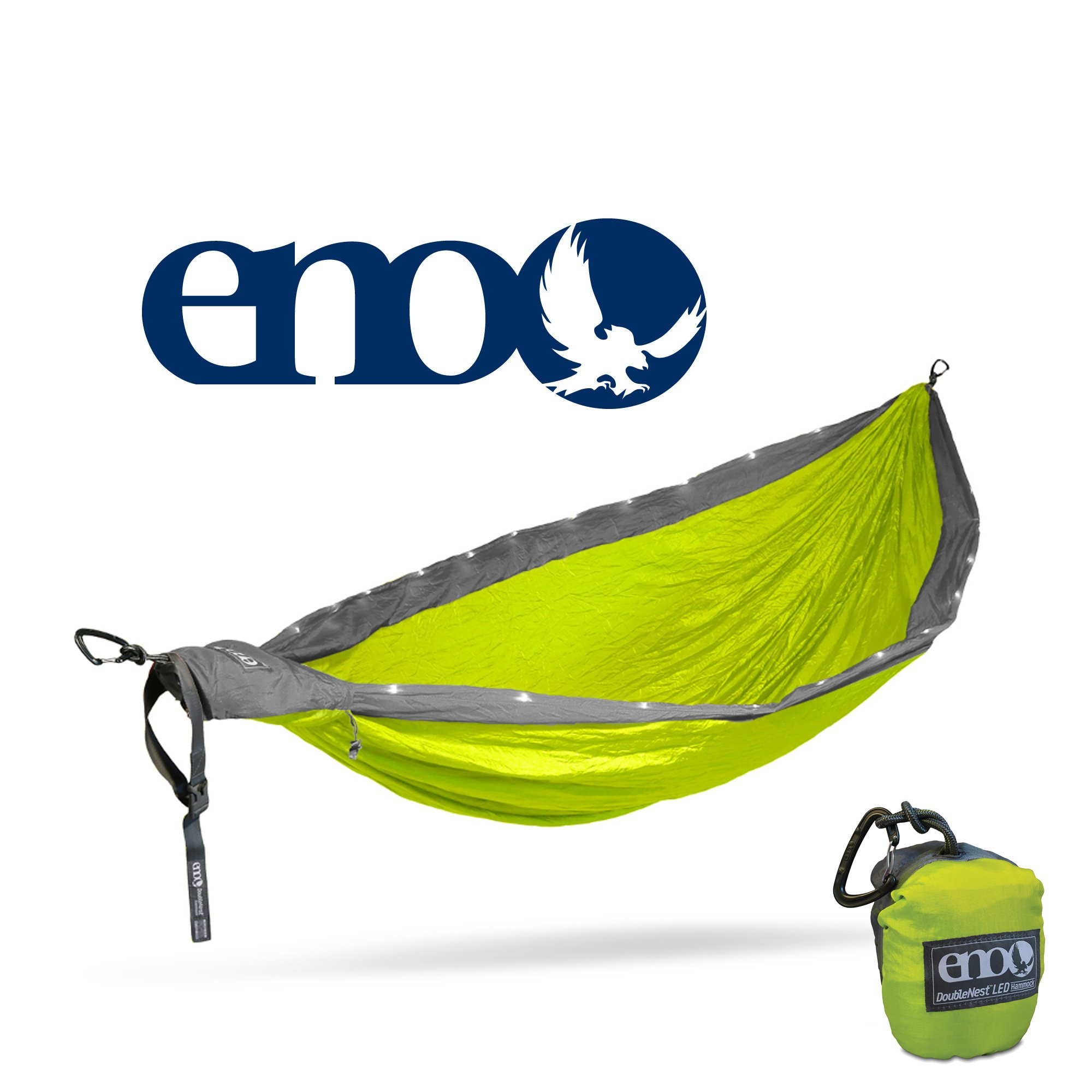 ENO - Eagles Nest Outfitters DoubleNest LED Hammock, Neon/Grey